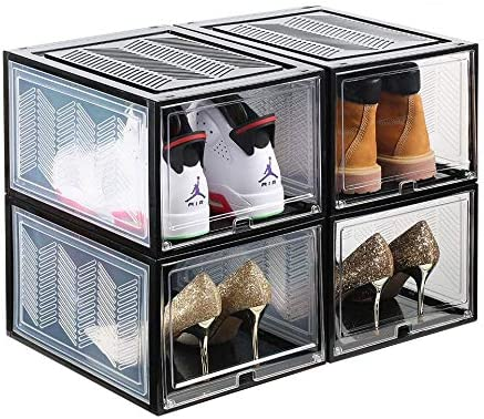 SUNFICON 4 Pack Shoe Box Organizers Stackable Shoe Storage Organizer Containers Shoe Box Rack product image