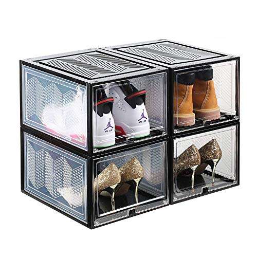SUNFICON Shoe Boxes Shoe Organizers Set of 4 Stackable Shoe Storage Containers w Clear Magnetic Door Hassle Free Assemble Up to Size 125 Large Shoe Rack Bins Display Sneakers High Heels Black Clear