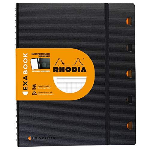 Rhodia 132142C Exabook (DIN A4, 21 x 29,7 cm, kariert, mit Lineal und 5 Tabenregister, Taschen und Gummizug, 80 Blatt) schwarz