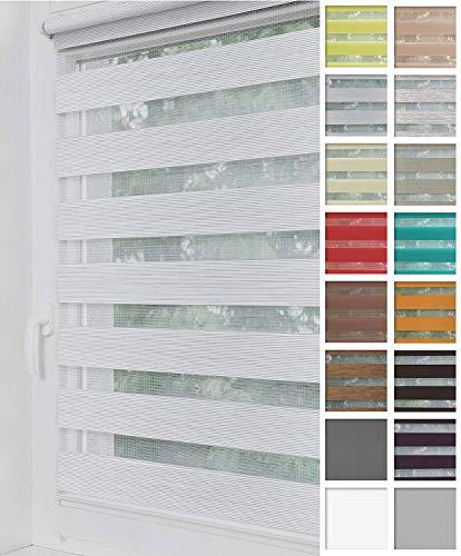 Home-Vision® Duo Rollo Klemmfix, Doppelrollo ohne Bohren mit Klämmträgern, Rollos für Fenster und Türen (Weiß-Grau-Melange, B90cm x H150cm)