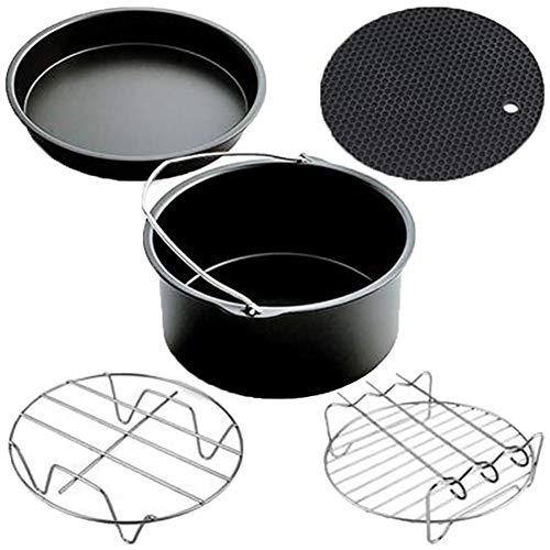 Cratone 7 Inch Air Fryer Accessories Set 5 Piece Deep Fryer Parts Pizza Pan Cake Barrel Metal Holder Skewer Rack Silicone Mat