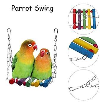 MengH-SHOP Jouets Oiseau pour Perroquet 8 Pièces Suspendu en Bois Jeu de Jouets Combinés Coloré Balançoire Décoration pour Oiseaux Cages