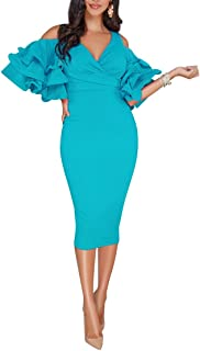 Solid Flounced Sleeves Cold Shoulder V Neck Elegant Sexy Party Evening Midi Dress Bodycon Dress