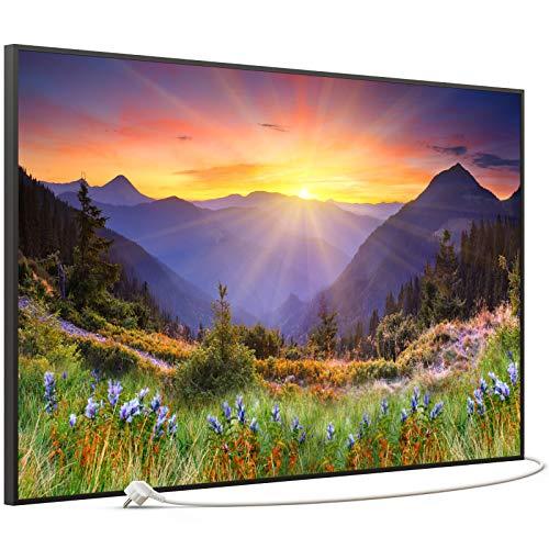 STEINFELD Bild Infrarotheizung mit Thermostat | Made in Germany | viele Motive 350-1200 Watt Rahmen schwarz (900 Watt, 034 Sonnenuntergang)