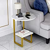 Gold Modern Side Table with White Marble Top,2-Tier C-Table,Circle Nightstand for Small Spaces