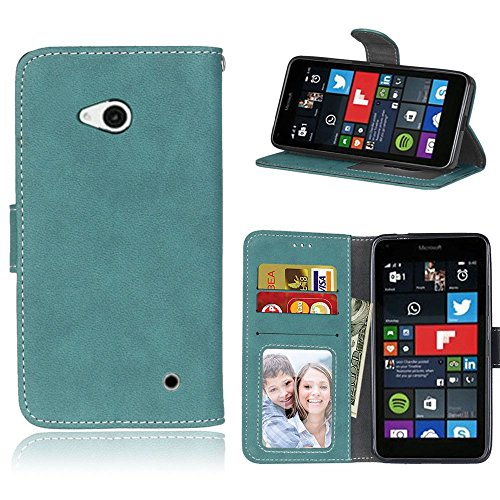 pinlu Hohe Qualität Retro Scrub PU Leder Etui Schutzhülle Für Microsoft Lumia 640 Dual-SIM Lederhülle Flip Cover Brieftasche Mit Stand Function Innenschlitzen Design Blau