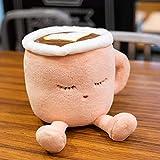 ASDFF 20-30cm Taza de café de Dibujos Animados Almohada Relleno Latte Cappuccino Juguete Divertido Cojín de té de Leche Comida rápida niños Niñas 20cm Rosa