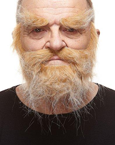 Realistischer Blonder Trapper fälschen, selbstklebend Bart, Schnurrbart und Augenbrauen