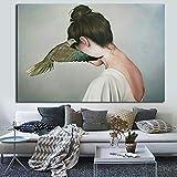 ganlanshu Pintura sin Marco Retrato de Mujer Abstracta Lienzo Pintura Pintura Moderna Arte de la Pared Sala ZGQ6293 60X90cm