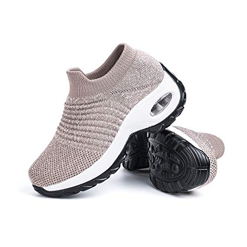 Zapatillas Deportivas de Mujer Zapatos Running Fitness Gym Outdoor Sneaker Casual Mesh Transpirable Comodas Calzado Caqui Talla 38