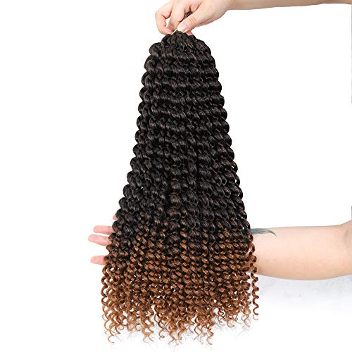 6Packs/Lot Passion Twist Hair 18inch Brown Ombre Synthetic Braiding Hair Extensions Long Water Wave Bohemian Corchet Hair for Passion Twist 22 Strands/Pack(T1b/30,480g/lot)