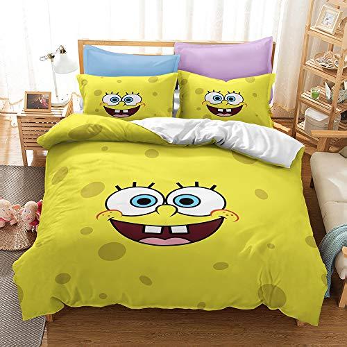 Enhome Bettbezug Bettwäsche Set, 3D Comics Spongebob Druck Bettwäsche-Set Mikrofaser Weiche mit Reißverschluss Bettbezug & Kissenbezüge für Teens Adult (SquarePants2,135x200cm(2pc))