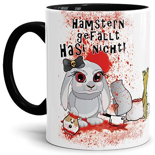 Tassendruck Anti-Hamster-Tasse mit Spruch Böses Hasi - Hamstern - Kaffee-Tasse/Hamsterkäufe/Virus 2020 / Geschenk-Idee - Innen & Henkel Schwarz