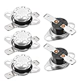 uxcell KSD301 Thermostat 90°C/194°F 10A Normal Closed N.C Adjust Snap Disc Temperature Switch for Microwave,Oven,Coffee Maker,Smoker 5pcs