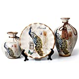 ufengke Peacock Ceramic Vase,Set of 3 Pieces,Chinese Vases for Home Decor