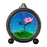 girlsight Art Retro - Reloj despertador para sala de estar decorativo, fácil de leer, cuarzo, analógico, mesa de noche, reloj despertador, esfera de loto, flor