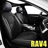 AOMSAZTO Custom Fit for Toyota 2007-2021 RAV4 Faux Leather Car Seat Covers Full Set Compatible Airbag RAV-4 Seat Protector Comfortable and Breathable Black
