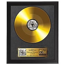 Casa Vivente Goldene Schallplatte zum 50. Hochzeitstag, Foto-Druck, Personalisiert mit Namen, Datum und Foto, Inklusive dunklem Bilderrahmen