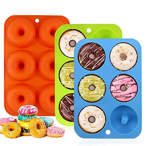 Silikon Donut Formen,3 Stück 6 Hohlraum Antihaft Donut Backblech Donut Maker,für Kuchen Keks Bagels Muffins,Geeignet für Geschirrspüler,Backofen,Mikrowelle,Kühlschrank
