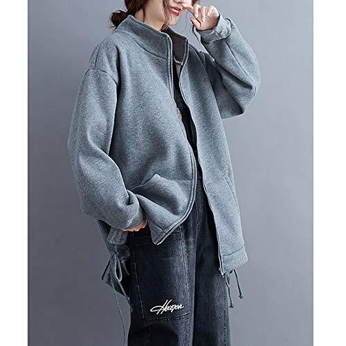 『Semo1mus レディース ジャケット 冬 コート カジュアル 防寒 ゆったり 厚手ファッション 体型カバー おしゃれ グレー』の4枚目の画像