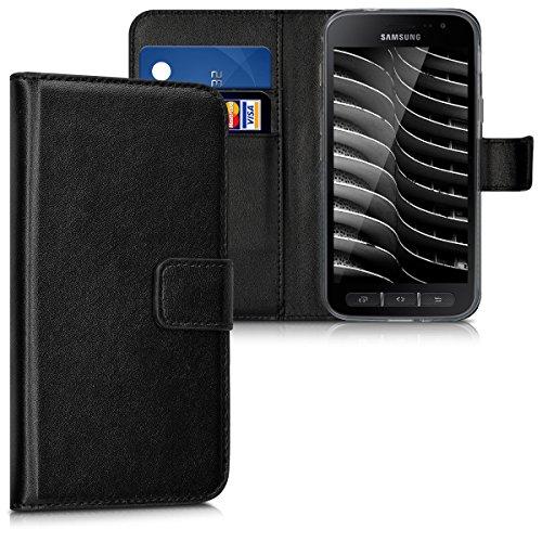 kwmobile Hülle kompatibel mit Samsung Galaxy Xcover 4 - Kunstleder Wallet Hülle mit Kartenfächern Stand in Schwarz