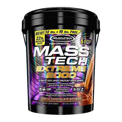 Mass Gainer Protein Powder   MuscleTech Mass-Tech Extreme 2000   Muscle Builder Whey Protein Powder   Protein + Creatine + Carbs   Max-Protein Weight Gainer for Women & Men   Vanilla, 22 lbs