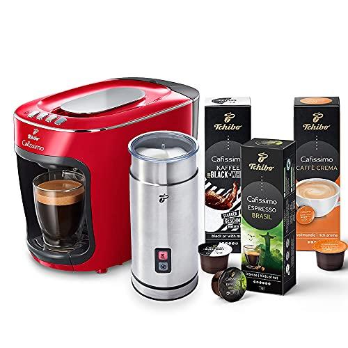 Tchibo Cafissimo mini Kapselmaschine (für Kaffee, Espresso und Caffè Crema) inkl. elektr. Milchaufschäumer aus Edelstahl und 30 Kapseln (Rot)