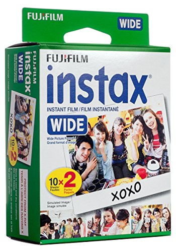 Fujifilm instax Wide Instant Film, 20 Exposures, White, New Packaging
