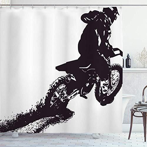 ZORMIEY Duschvorhang,Action Motocross Motor Dirt Menschen Sport Erholung Racer Bike Biker Wettbewerb,Vorhang Langhaltig Hochwertig Bad Vorhang Polyester Stoff Wasserdichtes Design,mit Haken 180x180cm