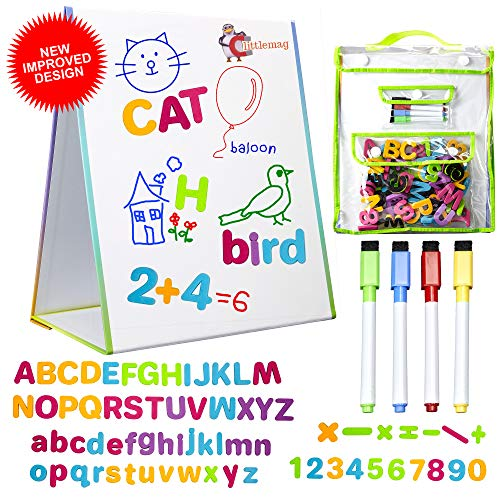 littlemag Magnetic Easel and Whiteboard for Kids - 4 Dry Erase...