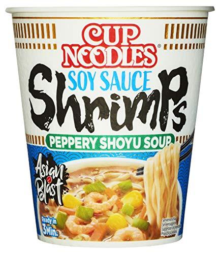 Nissin Cup Noodles – Soy Sauce Shrimps, Einzelpack, Soup Style Instant-Nudeln japanischer Art, mit Schrimp-Geschmack, Soja Sauce & Gemüse, schnell im Becher zubereitet, asiatisches Essen (1 x 63 g)