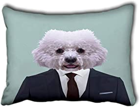 Axtuxdell Pillowcase Cushion Cover for Bed Couch Sofa Bichon Frise Dog Animal Dressed Up in Navy Blue Suit with Red Tie Business Man Decorative Lumbar Throw Pillow Cover Rectangular 16