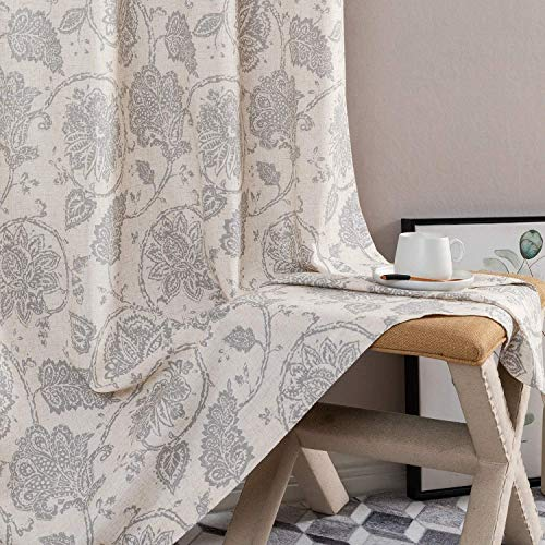 """jinchan Floral Scroll Printed Linen Curtains Grommet Top - Ikat Flax Textured Medallion Design Retro Living Room Window Curtains Grey on Beige 108"""" Set of 2"""