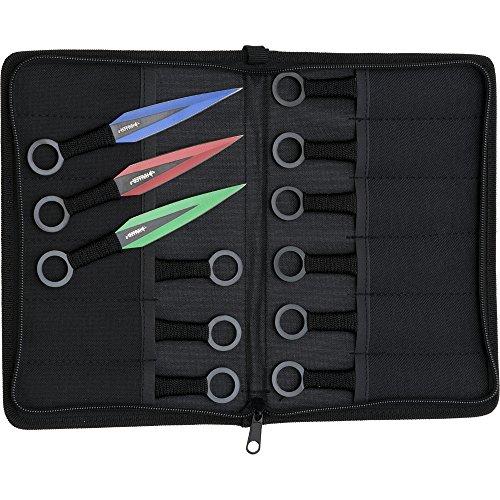 Haller 12 Bunte Wurfmesser Set rot grün blau eloxiert mit Tasche