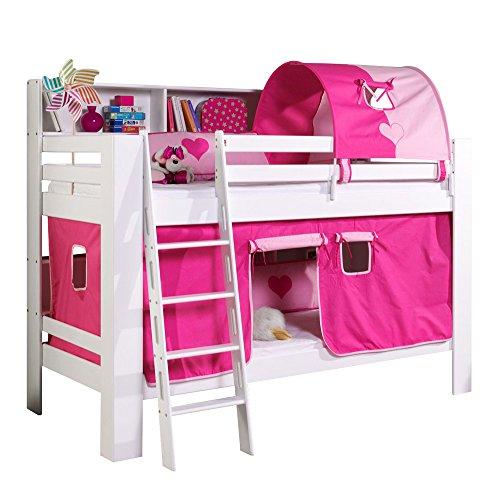 Relita Etagenbett Jan mit Bücherregal, Vorhang und Tunnel Buche massiv, weiß lackiert, Stoff pink