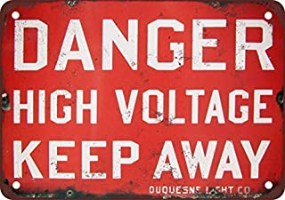 Danger High Voltage Keep Away Vintage Look Reproduction Decorative Metal Sign for Road Tin Art Wall Decor Aluminum Sign