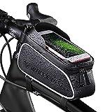 Mechhe - Bolsa para cuadro de bicicleta (pantalla táctil de 6 pulgadas, resistente al agua, con gran capacidad, interior con orificio para auriculares y parasol)