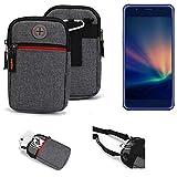 K-S-Trade® Gürtel-Tasche Für Hisense A2 Pro Handy-Tasche Schutz-hülle Grau Zusatzfächer 1x
