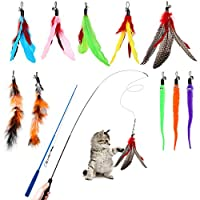 😺 Package Include 😺 2pcs flexible cat wands + 2pcs furry trail + 3 pcs wiggle worms + 5pcs feather teaser, help your cats to flip, jump, pounce, chase. Bring your kitty so much funs. 🐾 Retractable and Flexible Wand 🐾 The cat toy wand can be extended ...