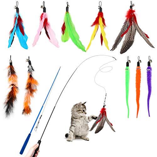 Hianjoo Katzenspielzeug Katze Toys, Interaktives Katzenspielzeug Feder mit 2 STK Versenkbare Katzenangel Ersatz und 10 STK Feder Spielzeug mit Glocken