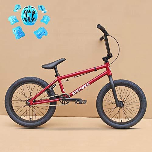 ZZD BMX Kid's Bike, 18-Zoll-U-förmiges Fahrrad aus Kohlenstoffstahl mit 25-Tonnen-Kettenblatt und 9-Tonnen-Freilauf für Kinder zwischen 120 und 140 Jahren,Rot