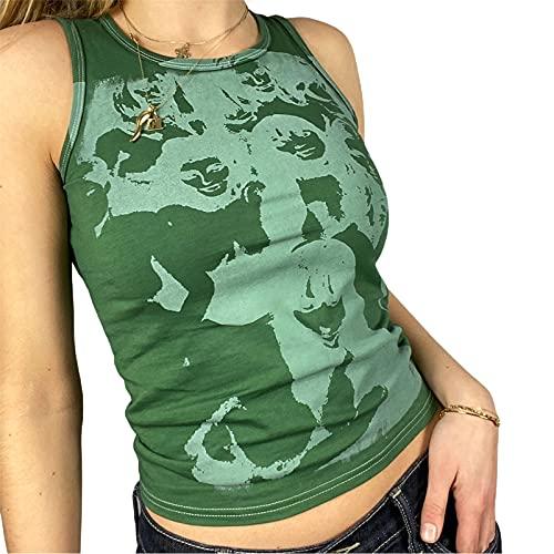 Camiseta sin mangas para mujer, sexy, con estampado artístico, cuello redondo, sin mangas, E-Girl Y2k