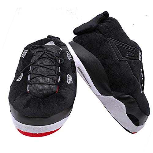 SoleSlip Sneaker Slippers Comfy, and Trendy Sneakers for Men, Pure Polyester Womens Sneakers   Fluffy Slippers with Standard Shoes Size that Fits All (Black & Red)