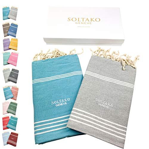 SOLTAKO XXL 2X Fouta Strandtuch Handtuch Saunatuch Badetuch Hamamtuch Yoga Decke Pestemal in Farben Pastellgrau & Aqua Farben als 2er Geschenkset extra groß, 100 x 200 cm