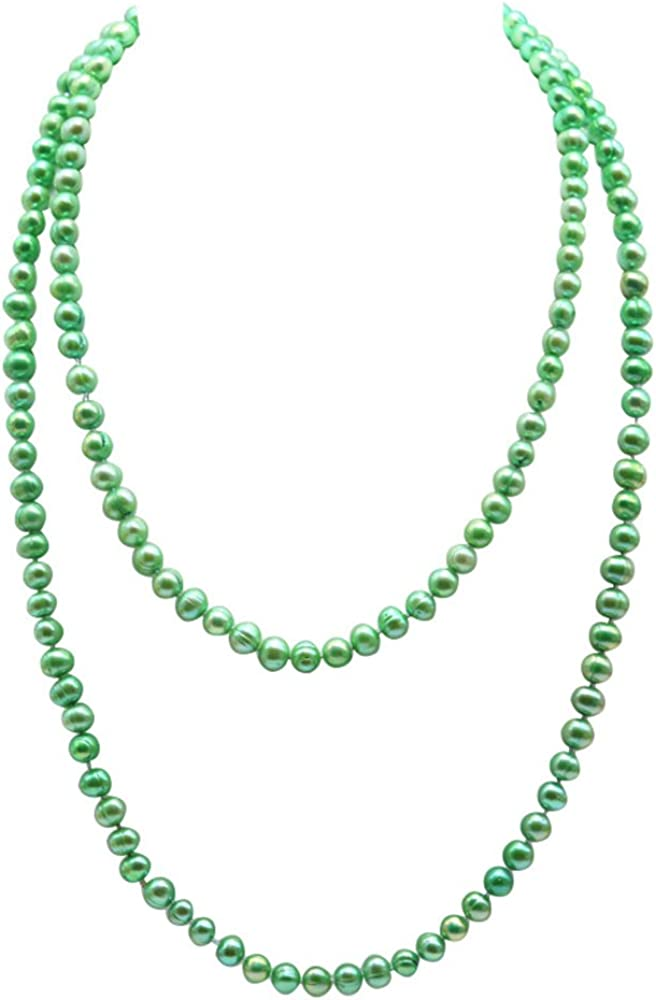 JYX Double Strand Pearl Necklace Dyed-Green Freshwater Cultured Pearl Necklace Sweater Necklace 48
