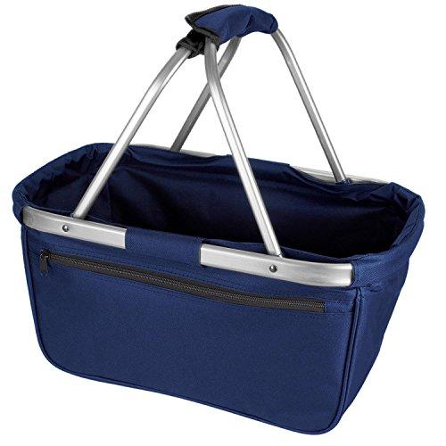 noorsk Einkaufskorb faltbar aus Stoff toll als Faltkorb Einkaufstasche oder Picknickkorb - Dunkelblau