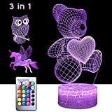 StarGinz 3D Night Light for Kids, 3 in 1 Illusion Lamp for Home Decoration,16 Colors Change Table Lamp for Birthday Christmas Day – Owl/Bear/Unicorn