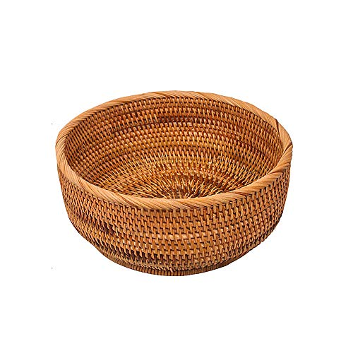 LDG Bread Serving Basket Wicker Fruit Basket Rattan Baskets Decorative Bowl (Round Handmade Rattan Bowl, L)