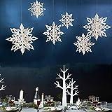 Amidaky Snowflake Decorations 12 pcs White Paper Snowflake Hanging Christmas Winter Wonderland Holiday New Year Party Home Ornament