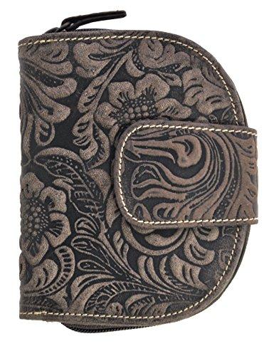 große Damen Reißverschluss Geldbörse halbrund mit RFID Schutz, ölgeprägtes Vollrindleder Jockey Club Florale Motive, Ranken und Blüten
